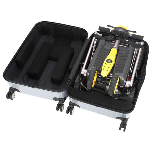 mobility scooter bag facilmente pieghevole in poche mosse e trasportabile come fosse un piccolo trolley ideale per ogni tipo di viaggio