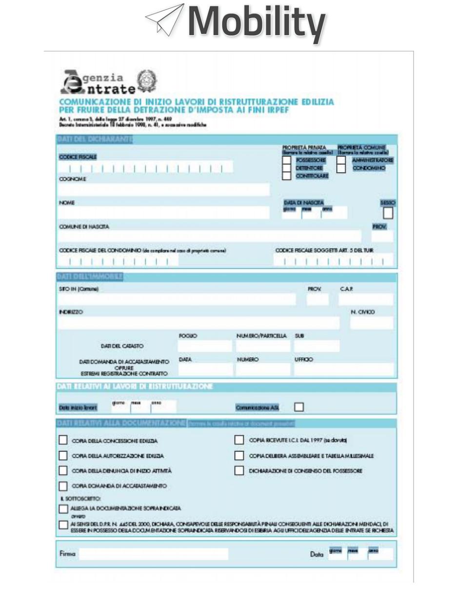 documento esempio dell'agenza delle entrate per richiedere detrazione fiscale per acquisto di un servoscala a poltroncina